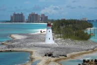 I grabbed this shot in 2008 as our cruise ship approached to dock at Nassau in the Bahamas. I believe that is the Atlantis resort in the background and the Paradise Island lighthouse as the focus of the shot.