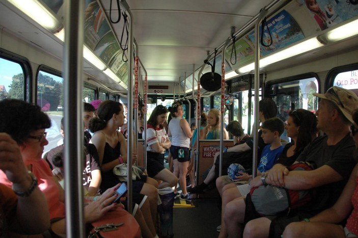 Look familiar? Just after we got on the bus Aug. 23, 2014, at the Caribbean Beach Resort at Walt Disney World, it became fuller and fuller with each stop (there are seven stops in the resort).
