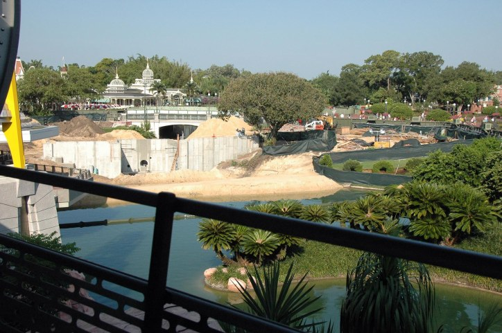 "Here's a shot I snagged while we were on the ""Tomorrowland Transit Authority PeopleMover"" on Aug. 24, 2014. It shows work at the pond at the ""Hub"" in the Magic Kingdom (the Walt and Mickey statute is the center of the ""Hub""). It is all part of an expansion project at Walt Disney World to expand the viewing area for the nightly fireworks."