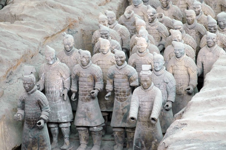 Here's a close-up shot of the internationally famous terra cotta warriors. I got the shot when we visited China in 2007 on our visit to Xi'an. Quite impressive is an understatement of the experience. These warriors are in the Museum of Qin main excavation area of the warriors site. Click the link before for all my China photos.