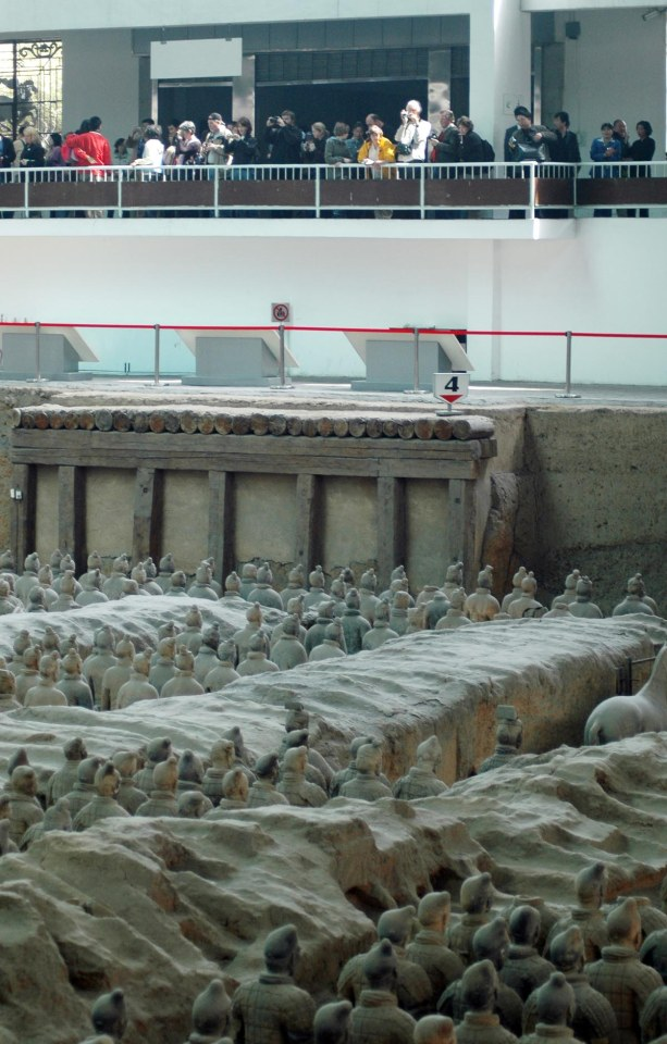 Here's a shot of the terra cotta warriors in the Museum of Qin main excavation area at Xi'an in China. It shows the gallery above the warriors that attracts visitors from across the planet (our group from Naples, Fla., is proof). The Barron Collier High School marching band visited China in 2007. Click the link before for all my China photos.