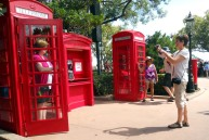 You can see these ubiquitous red telephone boxes at the United Kingdom Pavilion at the World Showcase in EPCOT. Although their numbers are decreasing in this cell phone age, you can still see them in the UK and its former colonies. I grabbed this shot while we were at the park at Walt Disney World on Oct. 10, 2014.