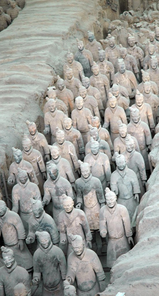 Here's another view of a trench of terra cotta warriors at the Museum of Qin main excavation area at Xi'an in China. We visited China as a family in 2007.