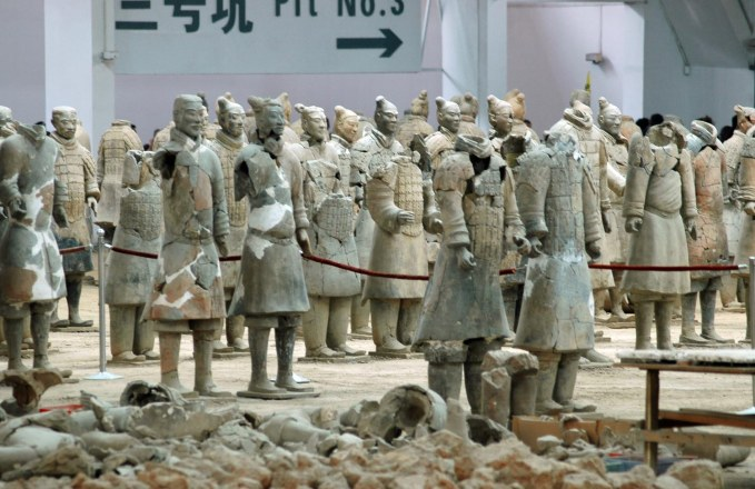 Here's a shot showing some terra cotta warriors in partial restoration at the Museum of Qin main excavation area at Xi'an in China. The Barron Collier High School marching band visited China in 2007 and I got this shot during the visit (obviously).