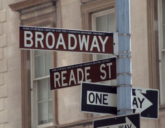 "Here's a shot of the street sign at Broadway and Reade Street in New York City. I got it when we visited in 2007 before our cruise to Canada. If you look closely, you'll find the designation ""African Burial Ground and the Commons Historic District."""