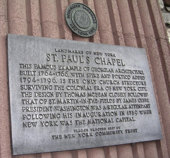 Here's another shot I got at St. Paul's Chapel in New York City in 2003. St. Paul's Chapel was used in the wake of the 9-11 terrorist attack on New York's Twin Towers in 2001 by rescuers and emergency workers. The photo shows the chapel's historical designation marker.