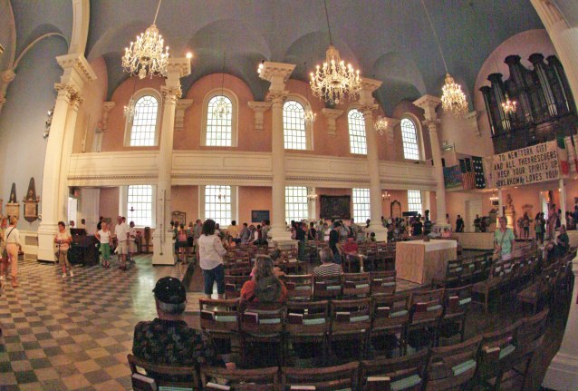 Here's an inside view of St. Paul's Chapel in New York City from our visit in 2007. In the wake of the 9-11 terrorist attack on New York's Twin Towers in 2001, the chapel was used by rescuers and emergency workers and its wrought iron fence became a place to hang memorials and mementos.