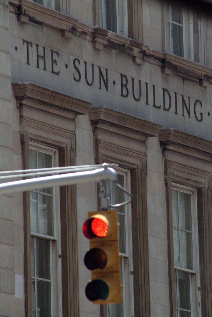 New York City's historic structures, such as the Sun Building in Manhattan, make a nice backdrop for even a photo of a traffic signal. I got this one when we visited New York City in 2007 to leave on a cruise to Canada.