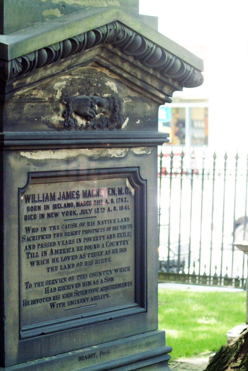Here is the grave marker of William James MacNeven, who was an Irish-American physician and writer. MacNeven is buried at St. Paul's Chapel in New York City. I got this shot during our visit in 2007. In the wake of the 9-11 terrorist attack on New York's Twin Towers in 2001, the chapel was used by rescuers and emergency workers.