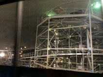When Space Mountain stops for a repair, the interior lighting is turned on and you can see the framework of the roller coaster while on the Tomorrowland Transit Authority PeopleMover at the Magic Kingdom at Walt Disney World. Debbie got this shot with her iPhone while she and Allison were on the PeopleMover on the evening of May 15, 2015.