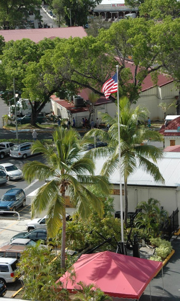 I got this shot of the flag of the United States flying at a harbor stop during our 2008 cruise through the Bahamas and into the Caribbean. I cannot remember at which harbor I got the shot.
