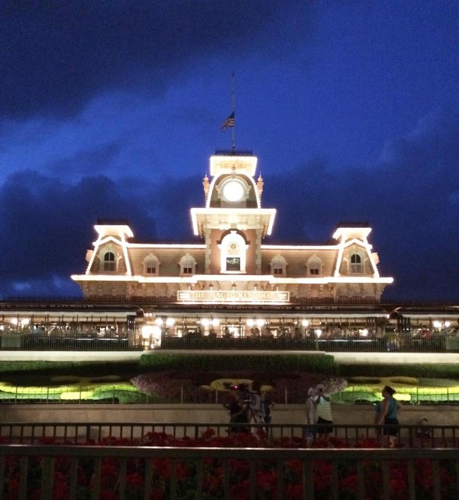 I really enjoy the deep blue of the sky above the main station for the Walt Disney World Railroad – Main Street U.S.A. Debbie got this neat nighttime shot at the Magic Kingdom on May 15, 2015. She and Allison were there for the Star Wars Weekend.