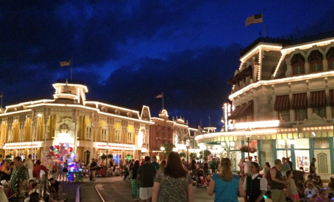 Yesterday I posted a neat photo Debbie got on her iPhone with a beautiful deep blue sky above the main station for the Walt Disney World Railroad – Main Street U.S.A. Here's another one with the same tone to the sky, but this time on Main Street itself. She and Allison were at the Magic Kingdom on May 15, 2015, for the Star Wars Weekend.