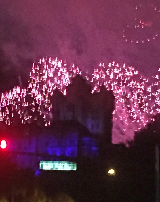 "Here's another shot from Allison and she and her college roommate were leaving Walt Disney World on July 18, 2015 She got the photos with her iPhone and it shows the fireworks from Fantasmic! at Disney's Hollywood Studios as they silhouette the ""Hollywood Tower Hotel"" building of the ""The Twilight Zone Tower of Terror"" ride. Allison was riding shotgun when she got this neat shot."