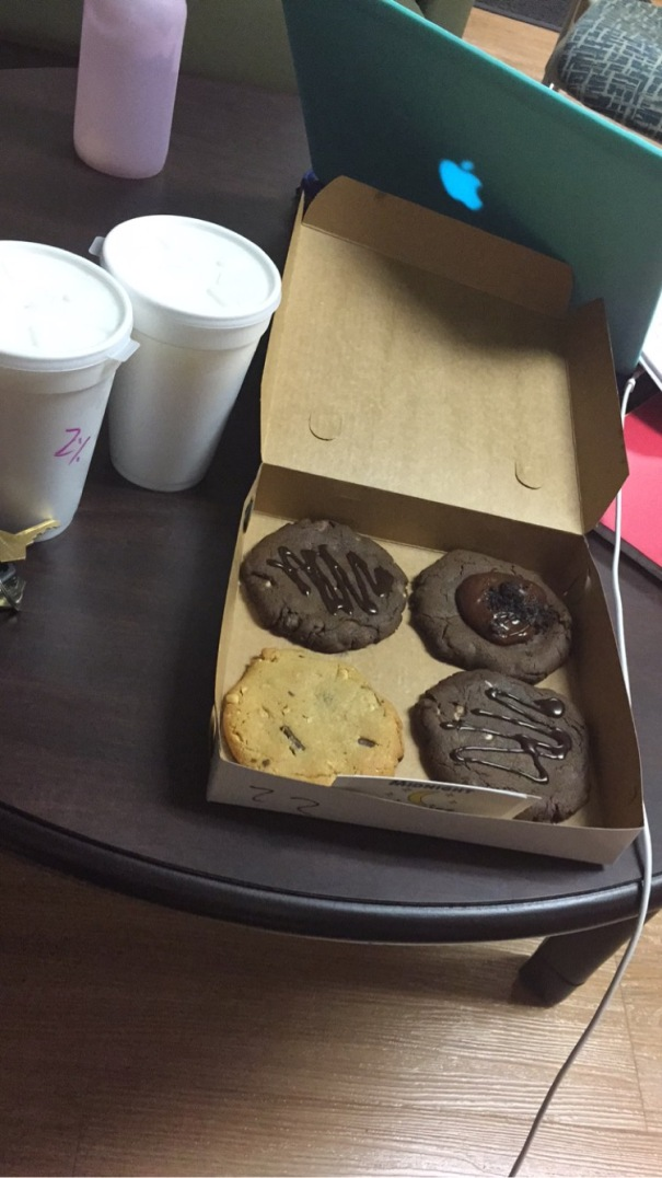 Here's the result of an order to Midnight Cookies in Gainesville, Fla. Allison and her roommate got this order one night in July 2015 during their summer term at the University of Florida.