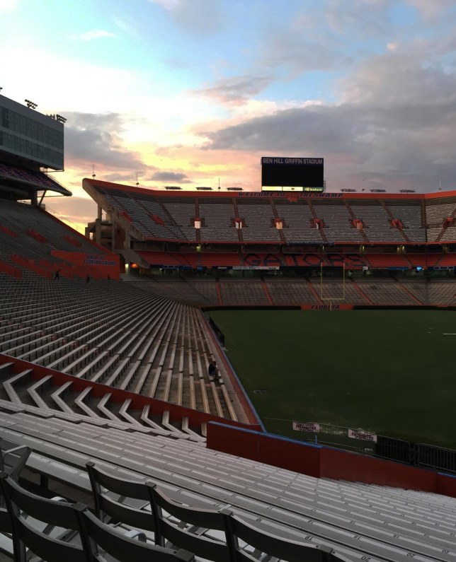 Here's another shot Allison got in July 2015 during her summer term as a freshman at the University of Florida, Allison has been running steps at The Swamp, which is home field of the Gators. Previously I posted a nighttime shot and this one is, of course, near sunset.