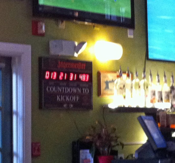 This photo really stinks (it was shot in a sports bar with an iPhone and not my Nikon), but it shows the Countdown to Kickoff clock at The Swamp Restaurant in Gainesville, Fla. We were there on Aug. 22, 2015, when we visited our daughter, who begins the fall term today at the University of Florida. Oh, the clock? There was just under 14 days to the Gators' kickoff to the 2015 season on Sept. 5, 2015.