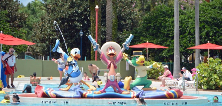 "Here's a head-on shot of the guitar-shaped pool (featuring the ""Three Caballeros"") at the All-Star Music resort at Walt Disney World. Allison got the shot on Aug. 16, 2015, when she and Debbie were there for a long weekend."