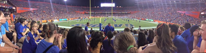Allison used her iPhone to get this panoramic shot during halftime at the University of Florida football game against the New Mexico State Aggies in Gainesville on Sept. 5, 2015. It was Allison's first football game at UF in this, her freshman year. The Gators won, 61-13.