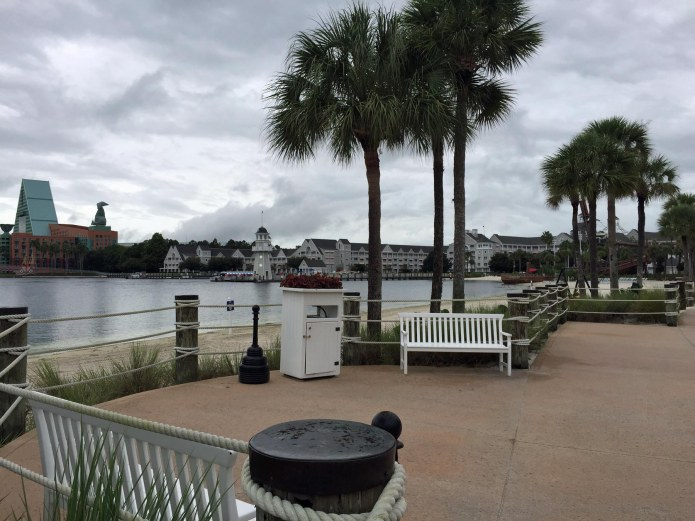 Allison did her first solo trip to Walt Disney World yesterday (Sept. 17, 2015). She drove from the University of Florida to the parks and enjoyed the day and nighttime fireworks at the Magic Kingdom before driving back to Gainesville. Here's a shot from the Beach Club resort, looking over to the Yacht Club resort and the pair's signature lighthouse. It was an overcast morning and few people were braving the drizzle to come.