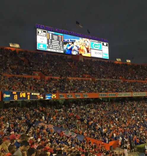Here's a photo of the south endzone and its scoreboard at the University of Florida victory over favored University of Mississippi on Oct. 3, 2015. In the game, the Gators won their biggest game under new coach Jim McElwain. Allison got the shot on her iPHone.