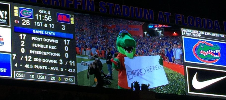 A close-up photo of the scoreboard during the University of Florida victory over favored University of Mississippi on Oct. 3, 2015, shows the statistical dominance by the Gators in the game over the Rebels. Allison got the shot on her iPHone.