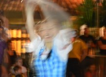 """Allison's been experimenting with shutter speeds on our Nikon DSLR and got this blurred shot of a dancer during Mickey's """"Boo-to-You"""" Halloween Parade at the Magic Kingdom. She got the shot on Oct. 16, 2015, while she was at Mickey's Not-So-Scary Halloween Party at Walt Disney World."""