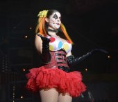 Here's another look at Chance, who is Jack's sidekick at the Carnage show at Halloween Horror Nights 25. She isn't a very nice person. Allison got this shot at the show on Oct. 17, 2015.