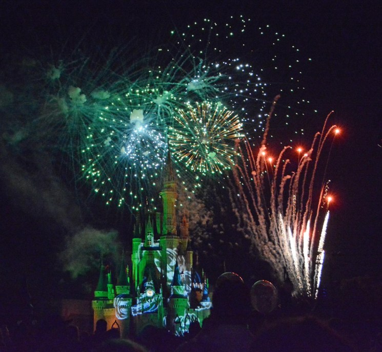 It's difficult to catch all the nuance in this shot by Allison. First, of course, is the fireworks, but you can also see that there is a projection on Cinderella Castle. Look close to just right off center and you'll see a couple of shadows – they're three spectators illuminated by the fireworks. She got this shot on Oct. 16, 2015, during Mickey's Not-So-Scary Halloween Party at the Magic Kingdom.