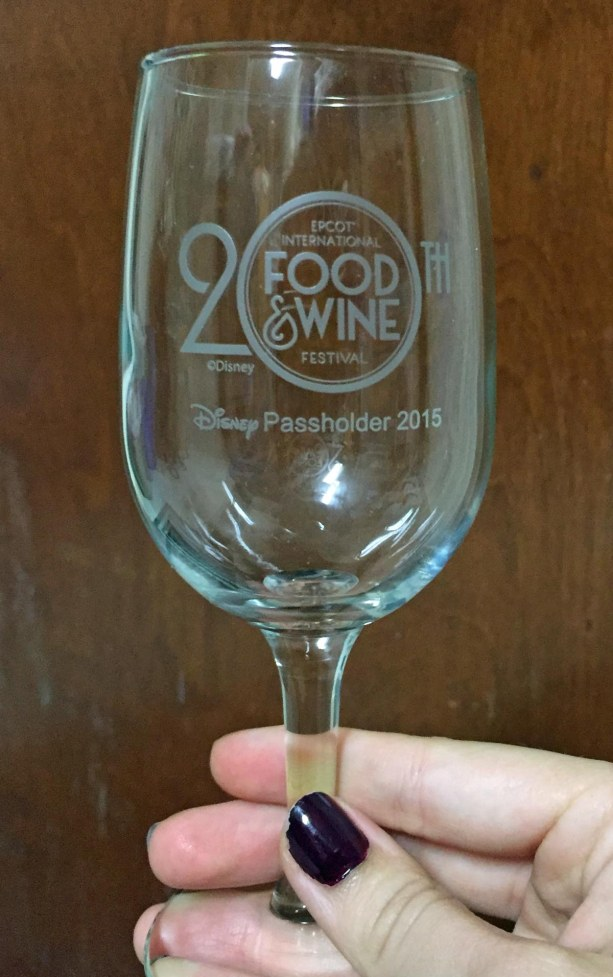 Well, Allison got her three stamps from three visits to the Epcot International Food & Wine Festival and got this commemorative glass on Nov. 14, 2015. Allison made all three visits coming down from her dorm at University of Florida at Gainesville. It was a bit of an adventure as she left one on the monorail while leaving EPCOT. However, the legendary Disney service proved itself when Guest Services replaced the missing ducat. Thanks, Disney, from all of us. Just another reason to like Walt Disney World.