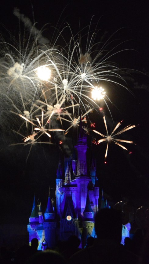 Here's yet another of Allison's great shots at the fireworks show on Friday, Oct. 16, 2015, during Mickey's Not-So-Scary Halloween Party at the Magic Kingdom. This one looks like mouse ears over the Cinderella Castle at Walt Disney World.