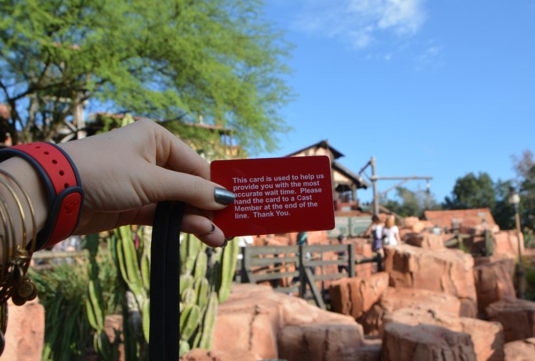 Here's one of the cards that Walt Disney World uses to track how long lines are at attractions. Allison did this hand selfie of the card at Big Thunder Mountain Railroad at the Magic Kingdom. She and Debbie were at Walt Disney World for a pre-Christmas visit when she got the shot on Dec. 16, 2015.