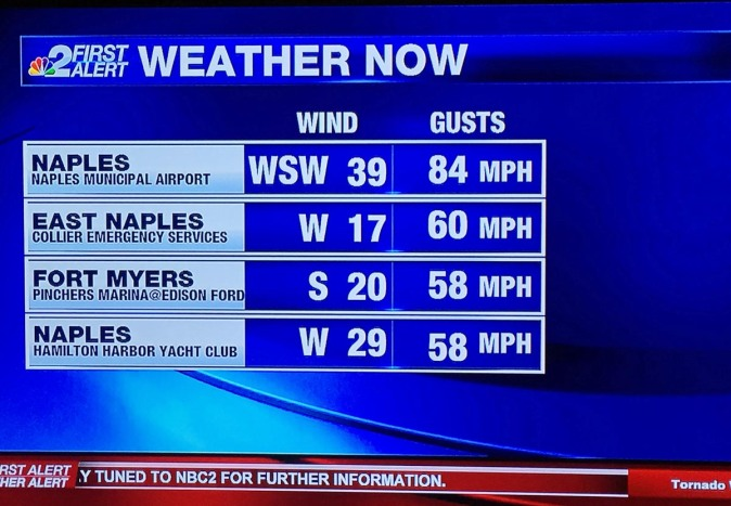 """We woke up yesterday to fog, but this morning (Sunday, Jan. 17, 2016) our home in North Naples was sandwiched between weather """"events"""" that brought winds of 80+ mph to the Naples area. Here's a screenshot from the local NBC affiliate showing the wind gusts in the area."""