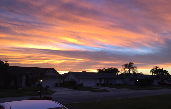 The beautiful sunrises just never seem to end here in Naples in Southwest Florida. I got this one headed out to work on Jan. 29, 2016.