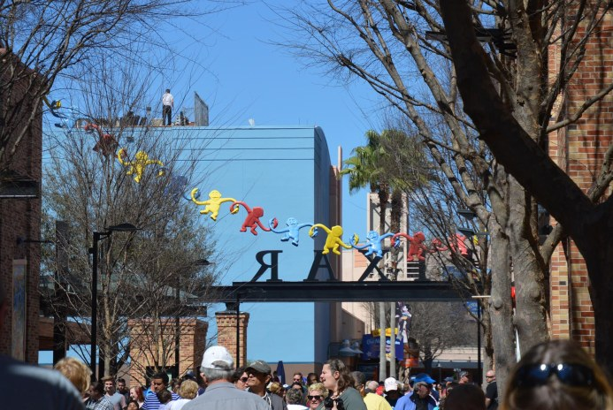 You can see the string of monkeys from the Toy Story Midway Mania's barrel of monkeys, but that's not the only interesting detail in this photo. Look at the top of the building in the upper left side of the photo. What's he doing up there? Allison got this shot at Disney's Hollywood Studios on Feb. 26, 2016, during her quick stop at Walt Disney World.