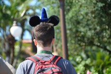 Mickey Mouse ears are synonymous with and can be spotted everywhere at Walt Disney World. I always take photos of guests wearing the ears and this guy has a set of ears that feature the Sorcerer's Hat that was once the icon of Disney's Hollywood Studios (it's since been removed in the remodel of much of that park). We were at the Magic Kingdom on Feb. 7, 2016, when I got the shot.