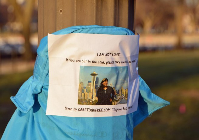Allison got this shot of a pack strapped to a utility pole in Washington D.C. on Feb. 27, 2016, while she was visiting a friend during Spring Break from college. It's obviously left to provide warmth in the cold D.C. winter to those in need. However, the website doesn't exist as to the date of this blog entry. Nice gesture by a kind soul and scathing commentary about the needy in our country.