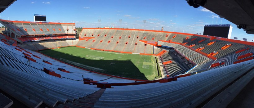 Here's Allison's spot where she did a bit of reading today (March 7, 2016) after returning to the University of Florida in Gainesville. Or is it her bit where she did a spot of reading? A (reading) room with a (Swamp) view. Yes, it's the legendary Florida Field (officially called Ben Hill Griffin Stadium at Florida Field by those who forget that it will always be just Florida Field.
