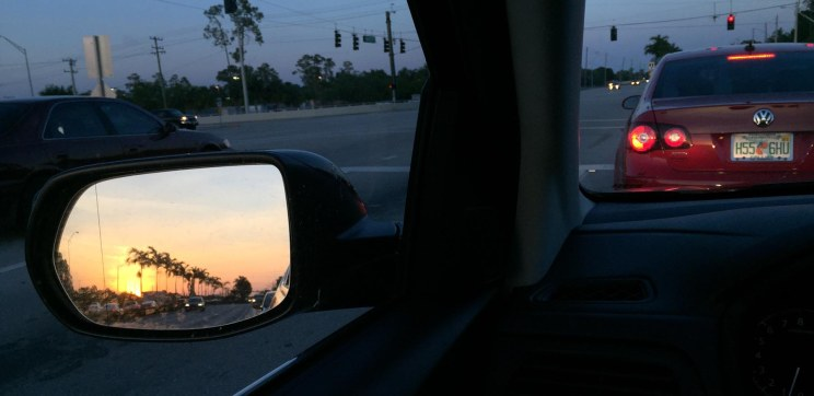 It's not the best sunset-in-the-sideview-mirror shot I've taken, but it shows the beauty of the evening of April 12, 2016, near our home in Naples, Fla.