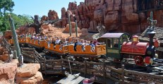 """I got this shot of riders on Big Thunder Mountain Railroad at the Magic Kingdom while riding the Walt Disney World Railroad (those in the know call it """"WDWRR""""). We were at Walt Disney World for an overnight visit when I got this one May 8, 2016."""