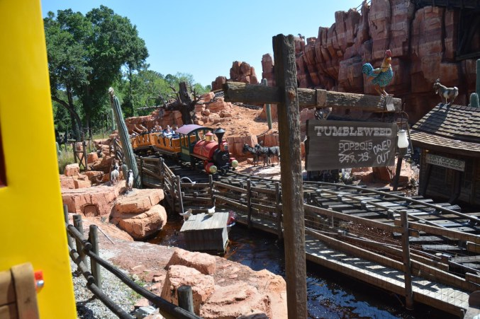 """OK, here's another look at the Big Thunder Mountain Railroad coming at you at the Magic Kingdom as viewed from the Walt Disney World Railroad (those in the know call it """"WDWRR""""). We were at Walt Disney World for an overnight visit when I got this one May 8, 2016."""