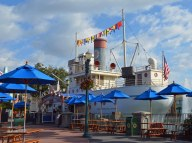 Well, here's a static shot of Min and Bill's Dockside Diner. We've never made a food or snack stop here, but I liked the splash of color on the morning of Feb. 6, 2016, that it offered my lens. No one's at the diner because it hasn't opened yet. We were at Walt Disney World for a long weekend when I got the shot.