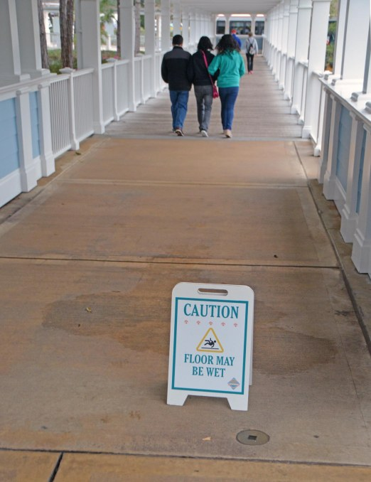 Walt Disney World must have its own sign division. It has signs for every occasion – especially wet floors and walkways. Here's one warning of a somewhat obvious water spot at Disney's Beach Club Resort. I clicked this one on Feb. 7, 2016, during our long weekend visit.