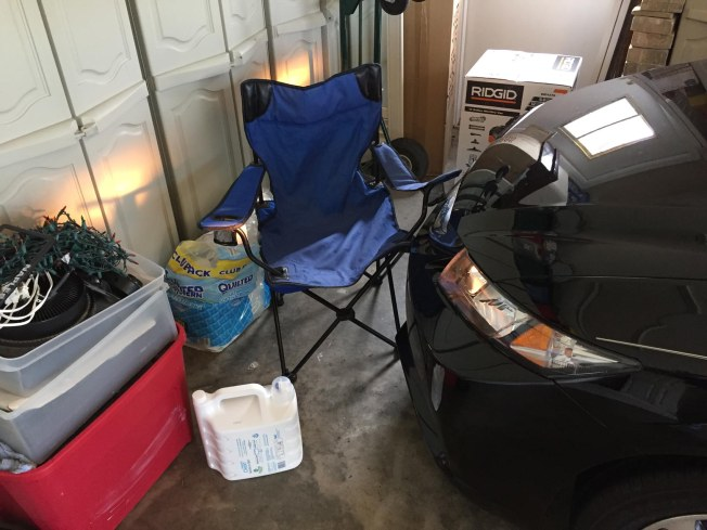Bad parking? No, someone left an open folding chair in our garage in Naples, Fla., on July 8, 2016, and I had to get out and move it to park. Sigh. When will everyone put their stuff away when they are done with it?