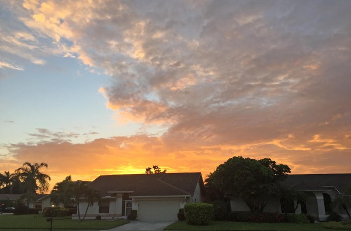 "My new theme for blog photos (my ""blogfodder"" if you will) is this: a beautiful sunrise I saw outside out home in Naples, Fla., on July 27, 2016."