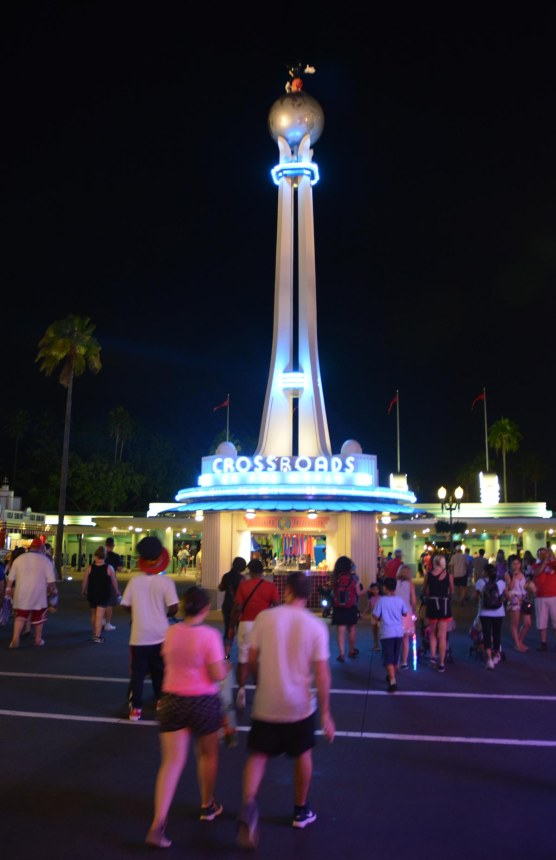 I got this nice nighttime shot of Crossroads of the World at Disney's Hollywood Studios on Aug. 17, 2016, as Debbie and left the part to head back to the room at Disney's Port Orleans Resort – Riverside.