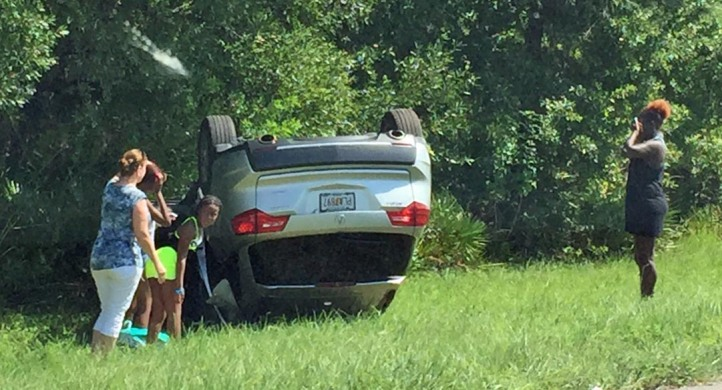 We were on our way back to our home in Naples, Fla. from Gainesville, when we saw this overturned SUV alongside Interstate 75 between Tampa and Sarasota. It was Aug. 20, 2016, and it didn't appear that anyone was injured and we were not able to tell if authorities had left the scene or were on their way.