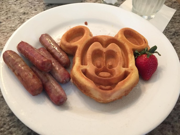 Here's my Mickey waffles and sausage breakfast at Grand Floridian Cafe on Aug. 17, 2016. We were at the beginning of a multi-day visit to Walt Disney World.