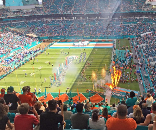 The newly renovated Hard Rock Stadium was literally fired up for the Oct. 23, 2016, contest between our Miami Dolphins and the Buffalo Bills. The fiery entrance for the home team starters was a prelude to a 28-25 win by the 'Phins.