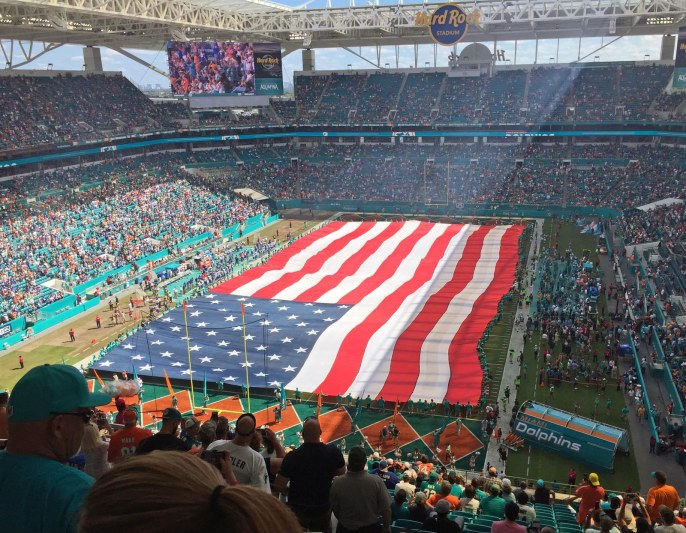 When we were at a University of Florida football game in September, I commented to Debbie how much more emotion I had with a live national anthem at the stadium. Here's a wonderful shot I got Oct. 23, 2016, at the end of the singing of the national anthem at the Hard Rock Stadium. We were there to see our Miami Dolphins play the Buffalo Bills and hopefully beat a conference opponent as well as that team's blustering clown of a head coach (that's you, Rex Ryan). Well, we weren't disappointed by the outcome a (28-25 win by the 'Phins) and truly enjoyed the anthem with the field-sized flag of the United States.